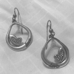 Brighton dangle love and heart oval earrings
